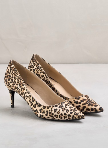 Elle İnce Topuklu Leopar Desenli Ayakkabı Leopar